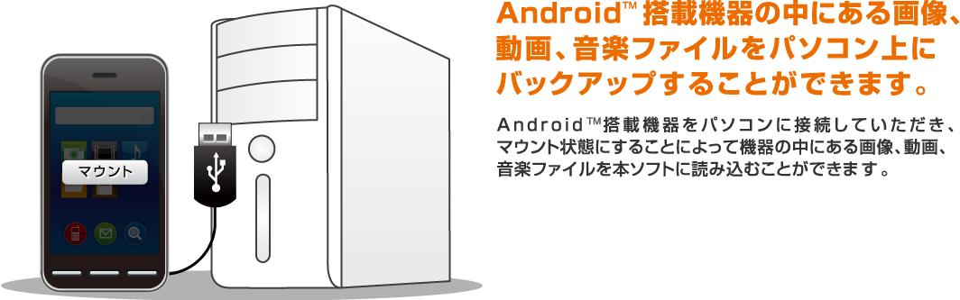 Android搭載機器の中にある画像、動画、音楽ファイルをパソコン上にバックアップすることができます。