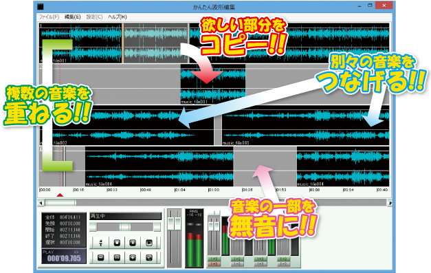 CDや音源ファイルをかんたんに編集