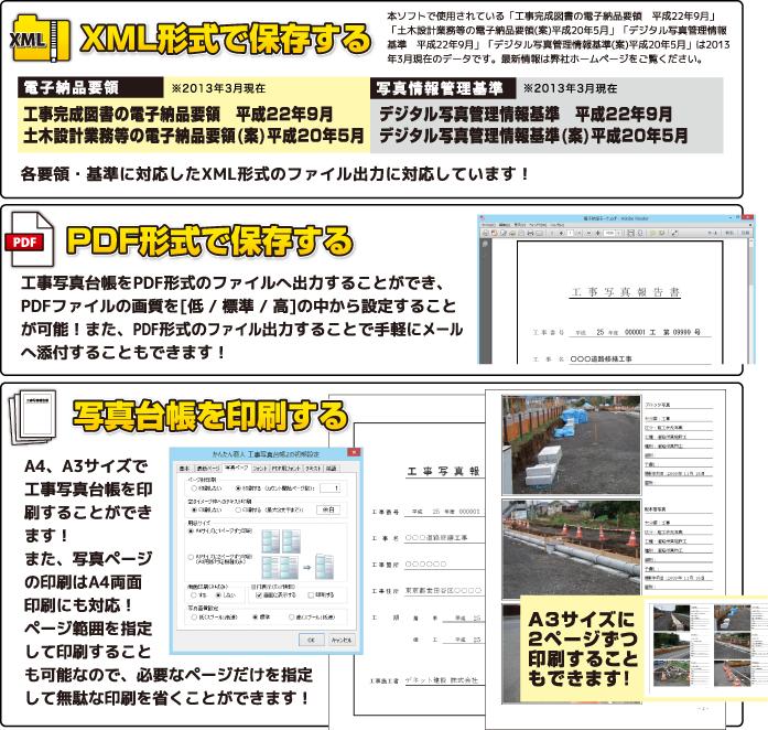 XML形式、PDF形式で保存する、写真台帳を印刷する