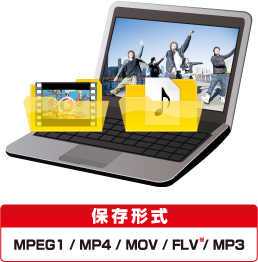 保存形式:MPEG1 / MP4 / MOV / FLV / MP3