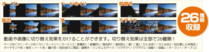 動画や画像に切り替え効果をかけることができます。